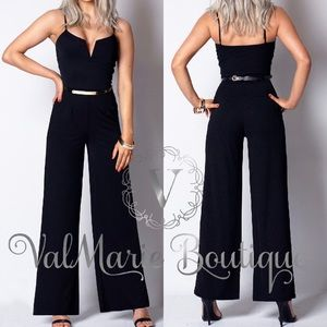 Stretchy Black Jumpsuit with Gold accent belt